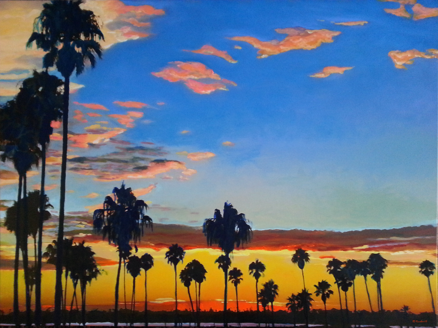 California Beach Sunset And Palm Tree Picture